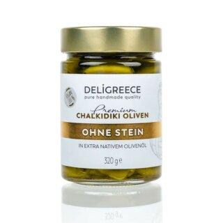 Premium Grüne Oliven ohne Stein 320g