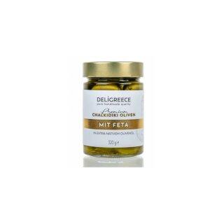 Premium Grüne Oliven mit Feta 320g